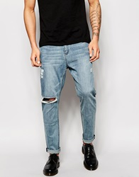 Cheap Monday Jeans Dropped Tapered Fit Posted Worn Blue Distressed Postedwornblue