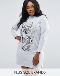 Pink Clove Praise Women Long Sleeve Jersey Tshirt Dress Grey