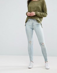 Vero Moda Seven Slit Knee Skinny Jeans Light Blue Denim