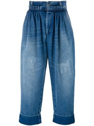 J.W.Anderson Cropped Pleated Front Jeans Blue