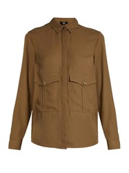 Versus By Versace Patch Pocket Crepe Shirt Khaki