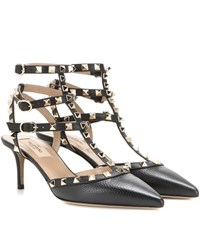 Valentino Rockstud Leather Kitten Heel Pumps Black