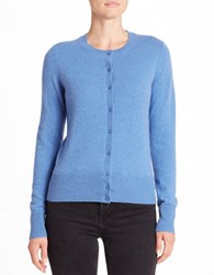 Lord And Taylor Basic Crewneck Cashmere Cardigan Arctic Heather