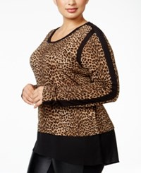 Michael Kors Plus Size Leopard Print Top Toffee