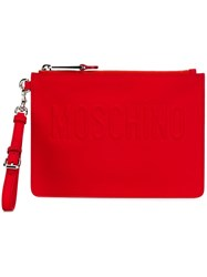 Moschino Embossed Logo Clutch Red