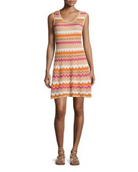 M Missoni Sleeveless Zigzag Knit Dress White Patt