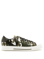 Valentino Camustars Leather And Canvas Low Top Trainers Green Multi