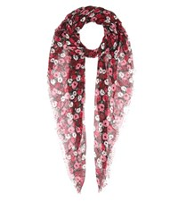 Saint Laurent Floral Printed Cashmere And Silk Scarf Multicoloured