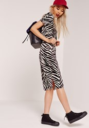 Missguided Zebra Crinkle Midi Skirt Black Black