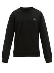 Dolce And Gabbana Logo Plaque Crew Neck Cotton Sweatshirt Black
