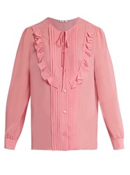 Miu Miu Silk Georgette Ruffled Trim Blouse Pink