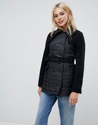 Brave Soul Lemar Trench Coat With Oval Quilt Detail Black