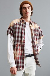 Urban Outfitters Vintage Bleached Cap Sleeve Flannel Button Down Shirt Red