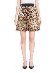 Dolce And Gabbana Embellished Silk Wool Mikado Leopard Print Skirt Natural Leopard