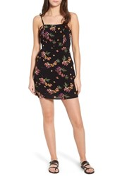 Lost Wander Floral Tie Back Minidress Black Floral