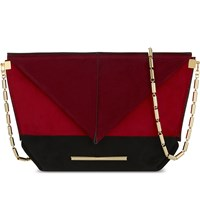 Roland Mouret Classico Origami Suede Cross Body Bag Black Poppy Red Burgundy
