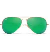 Ray Ban Polarised Mirrored Metal Aviator Sunglasses Green
