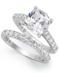 Arabella Sterling Silver Ring Set Swarovski Zirconia Bridal Ring And Band Set 8 Ct. T.W. Clear