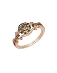 Levian 14K Strawberry Gold Chocolate And Vanilla Diamond Ring Diamond Rose Gold