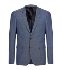 Sandro Notch Pinpoint Suit Jacket Male Blue