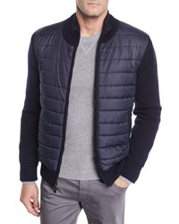 Neiman Marcus Quilted Water Repellent Jacket With Knit Trim Navy