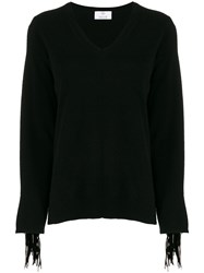 Allude V Neck Tassel Sleeve Sweater Black