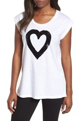 Kenneth Cole New York Sequin Heart Top White