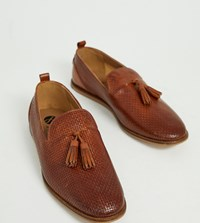 Hudson H By Wide Fit Comber Embossed Woven Tassel Loafers In Tan