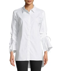 Love Scarlett Button Front Gathered Sleeve Blouse White