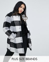 Junarose Collarless Check Coat With Pocket Detail Black Beauty Multi
