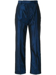 Yves Saint Laurent Vintage Straight Leg Trousers Blue