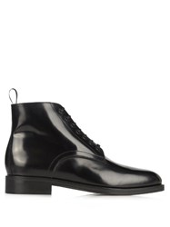 Christophe Lemaire Lace Up Leather Ankle Boots Black