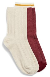 Treasure And Bond 2 Pack Cable Knit Crew Socks Burgundy Rouge Multi