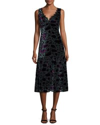 Nanette Lepore Sleeveless Floral Velour Midi Dress Eggplant