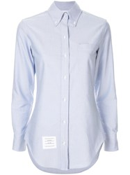 Thom Browne Buttoned Collar Shirt Blue