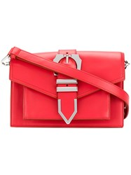 Versus Buckled Strap Shoulder Bag Women Cotton Calf Leather One Size Red