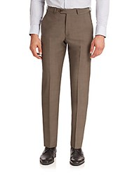 Armani Collezioni Virgin Wool Dress Pants Coffee