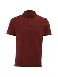 White Stuff Men's Sir Herringbone Smart Polo Brick Red
