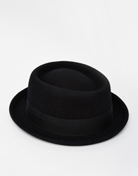 Asos Pork Pie Hat In Black Felt