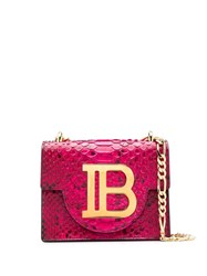 Balmain B Bag 21 Snake Effect Shoulder Bag Pink