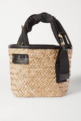 Sacai Shell And Leather Trimmed Woven Straw Tote Black