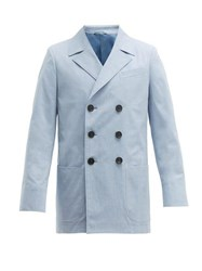Connolly Double Breasted Cotton Blazer Blue