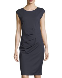 Neiman Marcus Sleeveless Side Ruched Dress Navy