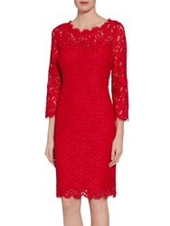 Gina Bacconi Lace Dress With Jewelled Flower Buttons Red