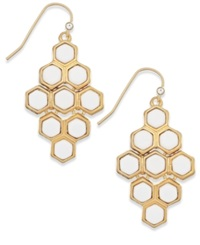 Lauren Ralph Lauren Gold Tone White Hexagon Chandelier Earrings