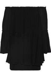 Bailey 44 Waterfall Off The Shoulder Layered Gauze And Crepe Mini Dress Black