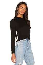 Monrow Supersoft Lace Up Sweatshirt Black