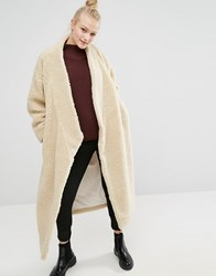 Monki Oversized Shearling Maxi Coat Off White