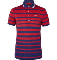 Rlx Ralph Lauren Striped Pique Polo Shirt Red