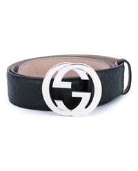 Gucci Interlocking G Buckle Leather Belt Black Silver White Indigo